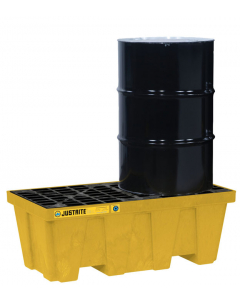 EcoPolyBlend Spill Control Pallet with drain, 2 drum, recycled polyethylene, Yellow - #28624