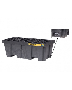 EcoPolyBlend Spill Control Pallet with drain, 2 drum, recycled polyethylene, Black - #28625