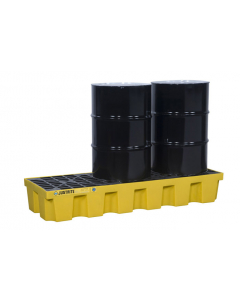 EcoPolyBlend Spill Control Pallet with drain, 3 drum, recycled polyethylene, Yellow - #28628