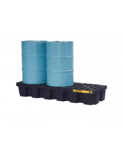 EcoPolyBlend Spill Control Pallet with drain, 3 drum, recycled polyethylene, Black - #28629