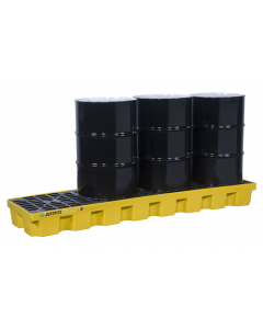 EcoPolyBlend Spill Control Pallet, 4 drum in-line, recycled polyethylene, Yellow - #28630