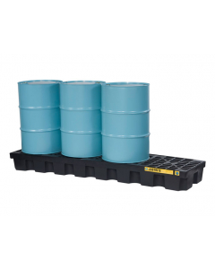 EcoPolyBlend Spill Control Pallet, 4 drum in-line, recycled polyethylene, Black - #28631