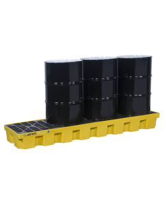 EcoPolyBlend Spill Control Pallet with drain, 4 drum in-line, recycled polyethylene, Yellow - #28632