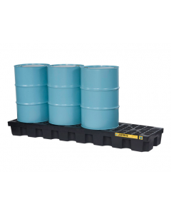 EcoPolyBlend Spill Control Pallet with drain, 4 drum in-line, recycled polyethylene, Black - #28633