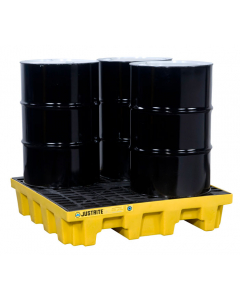 EcoPolyBlend Spill Control Pallet with drain, 4 drum square, recycled polyethylene, Yellow - #28636