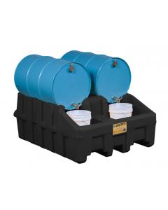 EcoPolyBlend Drum Management Base Module, dispensing well, forklift channels, recycled polyethylene, Black - #28667