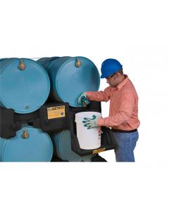 EcoPolyBlend Drum Management Stack Module, dispensing shelf optional, forklift channels, polyethylene, Black - #28669