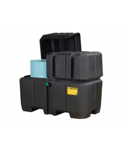 EcoPolyBlend Double Drum Collection Center, dual covers, forklift channels, recycled polyethylene, Black - #28683