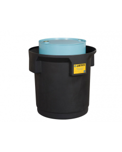EcoPolyBlend Single Drum Collection Center for 55-gal. drum, optional dolly, recycled content, Black - #28685