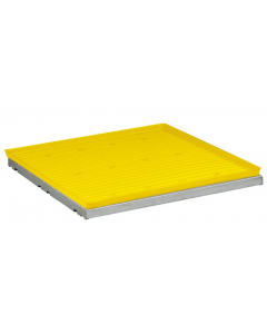 SpillSlope® Steel Shelf with Yellow Polyethylene Tray for 4 gallon Countertop safety cabinet - #29059