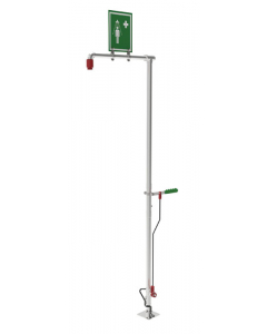 Hughes Drench Shower, Self-Draining, Floor Mount, Stainless Steel Pipe - #SD18GS