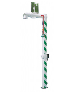 Hughes Drench Shower, Freeze Protected, Floor Mount, Stainless Steel Pipe, 120V C1D2 - #H5GS-1H
