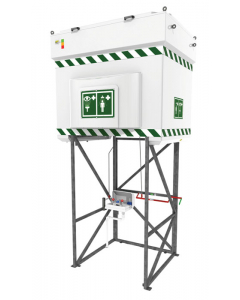 Hughes Emergency Tank Shower with Eye and Face Wash, 528 Gallon, Galvanized Steel Frame, 110V GP - #QS2000