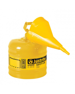 Type I Steel Safety Can for Diesel, with Funnel, 2 gallon, Yellow - #7120210