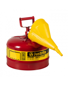 Type I Steel Safety Can for flammables, with Funnel, 2.5 gallon, Red - #7125110