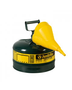 Type I Steel Safety Can for Oil, with Funnel, 2.5 gallon, Green - #7125410
