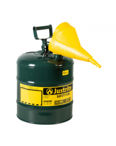 Type I Steel Safety Can for Oil, with Funnel, 5 gallon, Green - #7150410