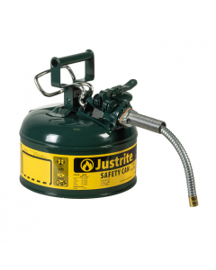 "1 Gallon Green Oil Type II Safety Can, Steel, 5/8"" Metal Hose - AccuFlow™ -#7210420"