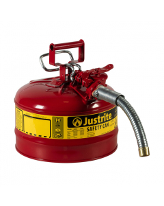 "2.5 Gallon Red Type II Safety Can, Steel, 1"" Metal Hose - AccuFlow™- #7225130"