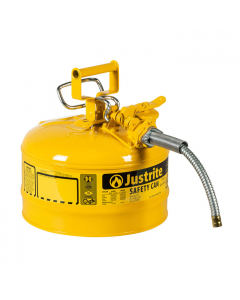 "Type II AccuFlowSteel Safety Can for Diesel, 2.5 gallon, 5/8"" metal hose, Yellow - #7225220"