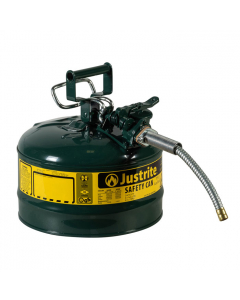 Type II AccuFlowSteel Safety Can for Oil, 2.5 gallon, 5/8-inch metal hose, Green - #7225420