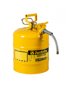 "5 Gallon Yellow Diesel Type II Safety Can, Steel, 5/8"" Metal Hose - AccuFlow™- #7250220"