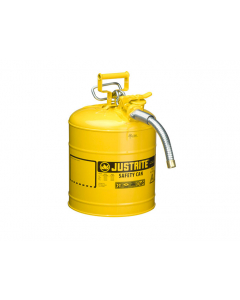 "5 Gallon Yellow Diesel Type II Safety Can, Steel, 1"" Metal Hose - AccuFlow™- #7250230"