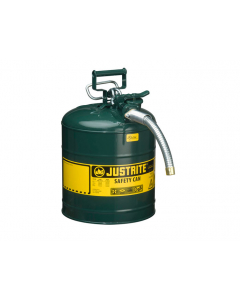 "5 Gallon Green Oil Type II Safety Can, Steel, 1"" Metal Hose - AccuFlow™- #7250430"
