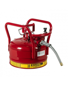 "2.5 Gallon Red D.O.T. Type II Safety Can with Roll Bars, Steel, 5/8"" Metal Hose - AccuFlow™- #7325120"