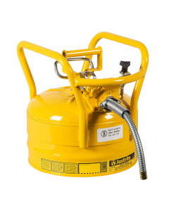 "2.5 Gallon Yellow D.O.T. Type II Safety Can with Roll Bars, Steel, 5/8"" Metal Hose - AccuFlow™- #7325220"