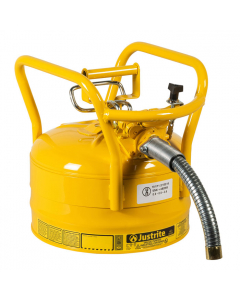 "2.5 Gallon Yellow D.O.T. Type II Safety Can with Roll Bars, Steel, 1"" Metal Hose - AccuFlow™- #7325230"