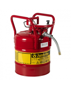 "5 Gallon Red D.O.T. Type II Safety Can with Roll Bars, Steel, 5/8"" Metal Hose - AccuFlow™- #7350110"