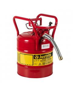 "5 Gallon Red D.O.T. Type II Safety Can with Roll Bars, Steel, 1"" Metal Hose - AccuFlow™- #7350130"