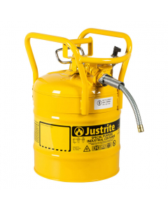 "5 Gallon Yellow D.O.T. Type II Safety Can with Roll Bars, Steel, 5/8"" Metal Hose - AccuFlow™- #7350210"