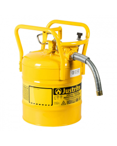 "5 Gallon Yellow D.O.T. Type II Safety Can with Roll Bars, Steel, 1"" Metal Hose - AccuFlow™- #7350230"