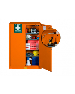 Emergency Preparedness Storage Cabinet, PowerPort electrical pass-thru, 4 shelves, 2 keys, Orange - #860002