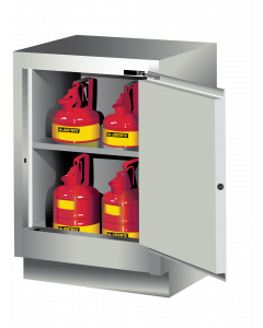 Sure-Grip® EX Under Fume Hood solvent/flammable liquid safety cabinet, 15 gallon,  1 manual close door, right hinge, Light Neutral - #882407