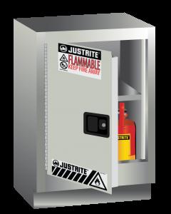 Sure-Grip® EX Under Fume Hood solvent/flammable liquid safety cabinet, 15 gallon,  1 manual close door, left hinge, Light Neutral - #882417