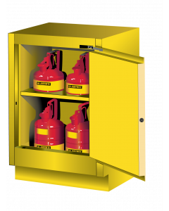 Sure-Grip® EX Under Fume Hood solvent/flammable liquid safety cabinet, 15 gallon,  1 self-close door, right hinge, Yellow - #882420