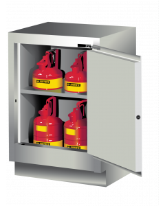 Sure-Grip® EX Under Fume Hood solvent/flammable liquid safety cabinet, 15 gallon,  1 self-close door, right hinge, Light Neutral - #882427