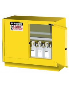 31 Gal Yellow Under Fume Hood Solvent/Flammable Liquid Safety Cabinet, 2 Self-Close Doors - Sure-Grip® EX - #884820