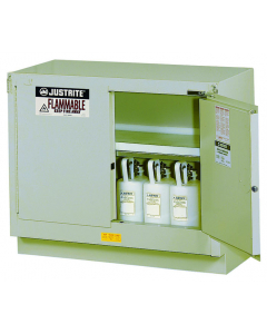 31 Gal Silver Under Fume Hood Solvent/Flammable Liquid Safety Cabinet, 2 Self-Close Doors - Sure-Grip® EX - #884824