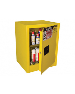 24 Can Yellow Benchtop Flammable Safety Cabinet 2 Drawer, 1 Manual Close Door - Sure-Grip® EX - #890500