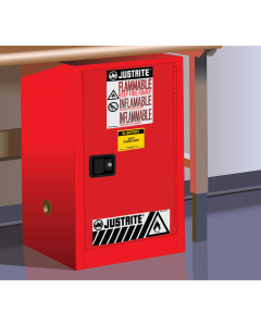 12 gallon Red Compac Flammable Safety Cabinet, 1 Self-Close Door - Sure-Grip® EX - #891221