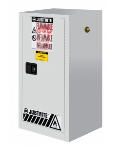 15 gallon White Compac Flammable Safety Cabinet, 1 Manual Close Door - Sure-Grip® EX - #891505