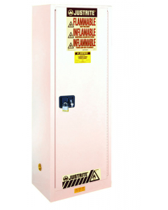 22 gallon White Slimline Flammable Safety Cabinet, 1 Self-Close Door - Sure-Grip® EX- #892225