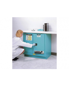 ChemCor® Undercounter Corrosives/Acids Safety Cabinet, 22 gallon, 2 Manual Close Doors, Blue - #8923022