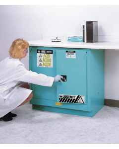 Sure-Grip® EX Undercounter Corrosives/Acid Stl Safety Cabinet, 22 gallon, 2 self-close doors, Blue - #892322
