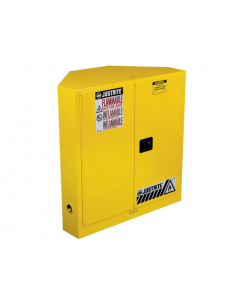 Sure-Grip® EX CORNER FLAMMABLE SAFETY CABINET, 30 gallon, 2 MANUAL-CLOSE DOORS, Yellow - #8931001