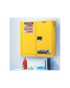 20 gallon Yellow Wall Mount Flammable Safety Cabinet, 2 Manual Close Doors - Sure-Grip® EX - #893400